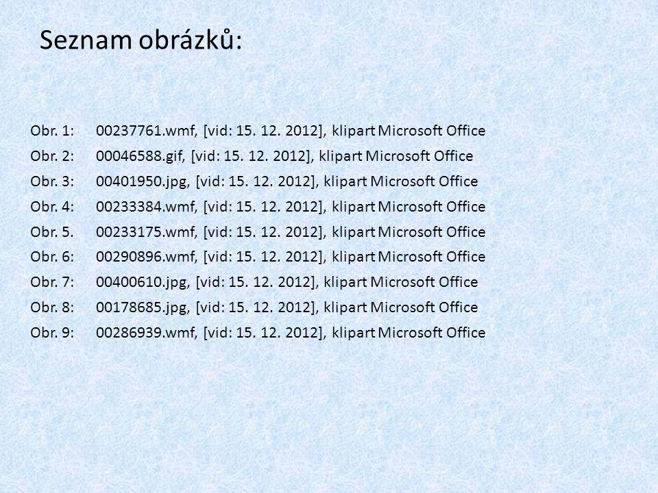 Seznam obrázků: Obr. 1: 00237761.wmf, [vid: 15. 12. 2012], klipart Microsoft Office.